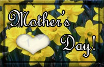 mothers day on fiel of yellow flowers with heart