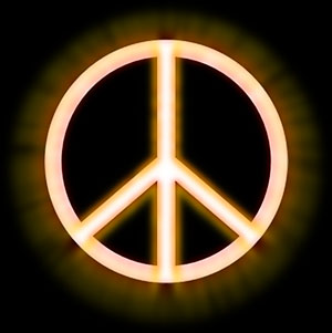 glowing peace sign