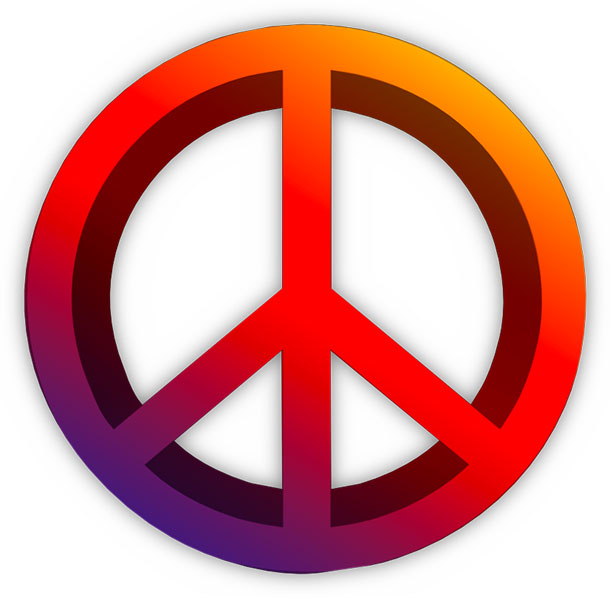 multi color peace symbol 3D
