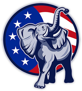 elephant with an American Flag