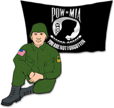 soldier sitting with pow-mia flag