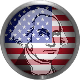 George Washington button with an American Flag