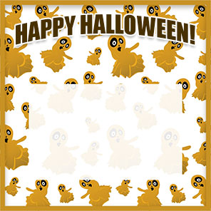 Happy Halloween ghosts border