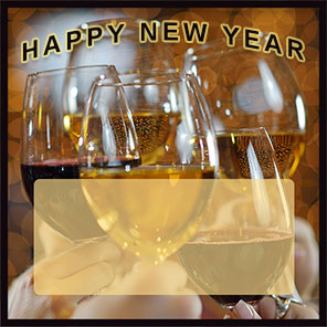 Happy New Year wine and champagne border