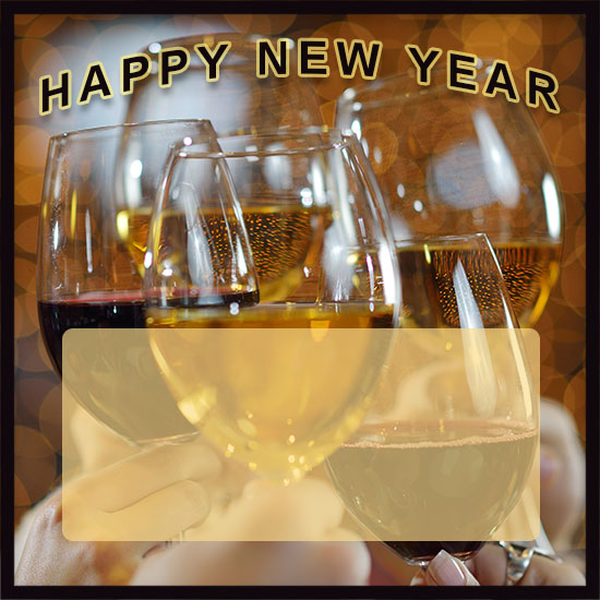 happy new year with wine and champagne plus transparent area for comments larger print version snowflakes happy new year