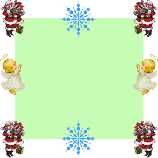 Santa, Angel and snoflake border