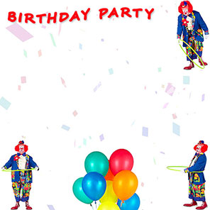 Birthday Party border with clowns