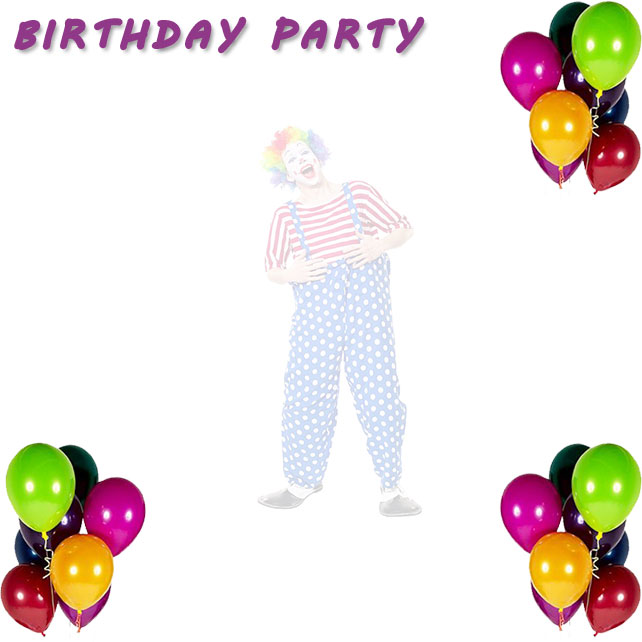 birthday party border with clown and balloons
