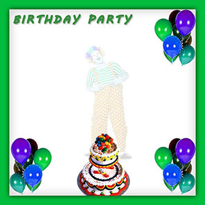 birthday party with clown and balloons