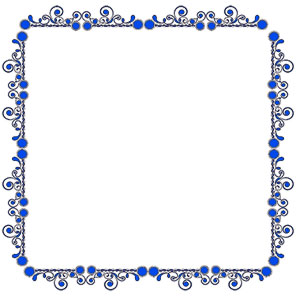 blue floral design border frame larger print version
