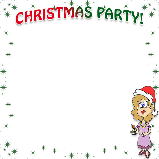 christmas party with a woman and drink - Christmas Borders Free
