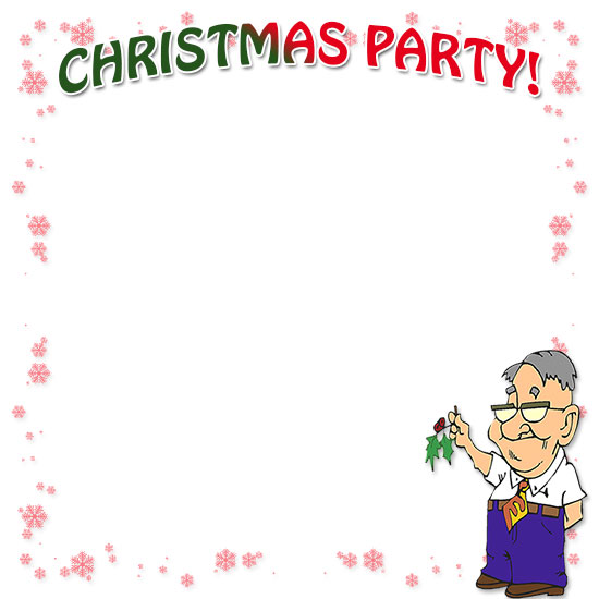 christmas party and a little mistletoe christmas party border - Christmas Borders