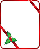 red ribbon frame with holly