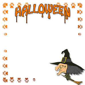 halloween border with witch