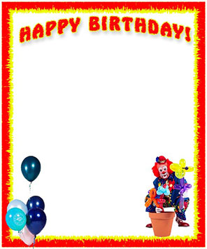 Happy Birthday with clown plus balloon animals