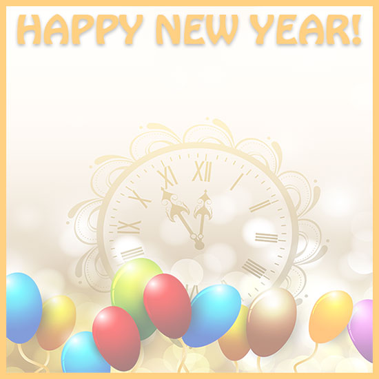 happy new year border with clock and balloons larger print version
