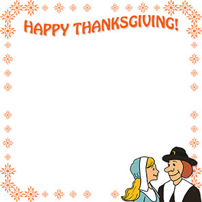 happy thanksgiving border with pilgrims