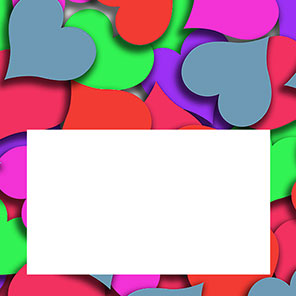 heart border with bright colors