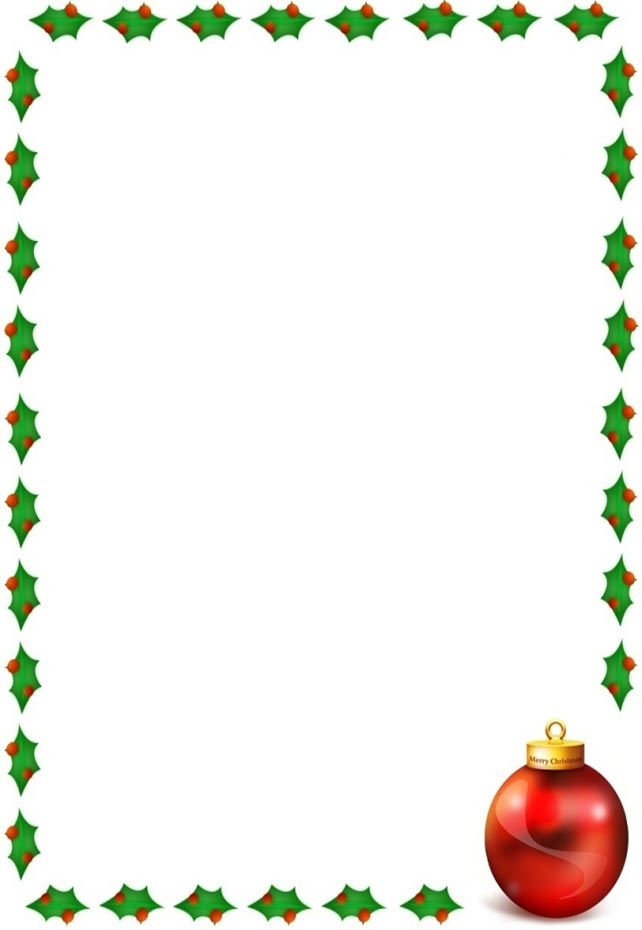 Christmas Border With Holly On 4 Sides And A Ornament
