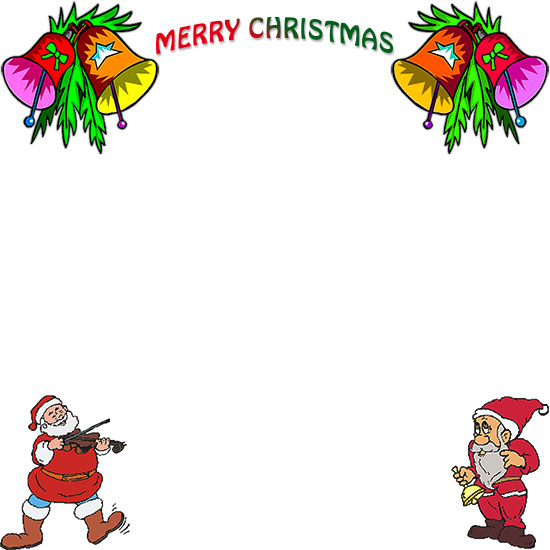 Free christmas borders merry christmas with santa and bells spiritdancerdesigns Images