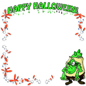 Happy Halloween with green monster