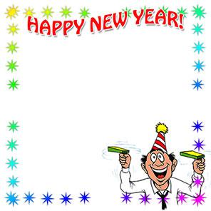 happy new year border with reveler celebrating