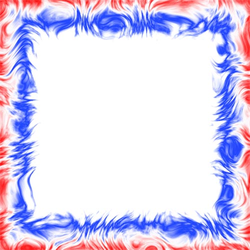 red and blue 4 sided border frame
