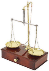 scales made of wood and brass