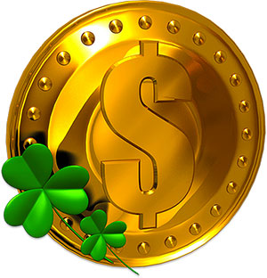 Gold Coin And Shamrocks Happy St Patricks Day