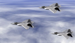 F-22 Raptors on blue sky