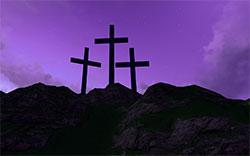 crosses on a mountain