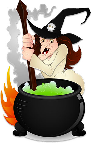 witch and cauldron